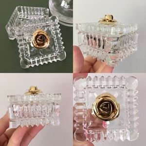 Vintage Glass Box with Brass Rosette